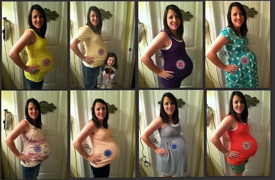 Коллаж по месяцам беременности
