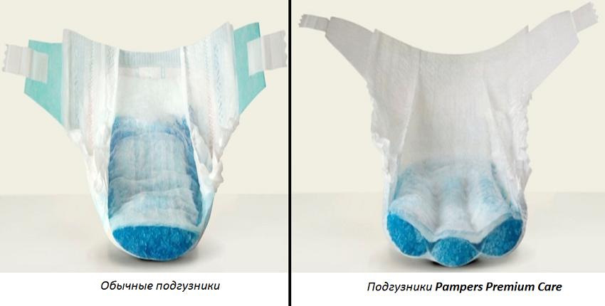 Подгузники Pampers Premuim Care и обычный подгузник для новорожденного
