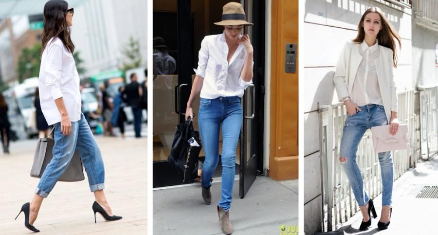 Белая рубашка под джинсы