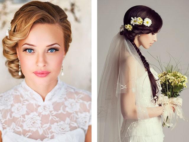 Свадебные прически на средние волосы с фатой 2016 фото