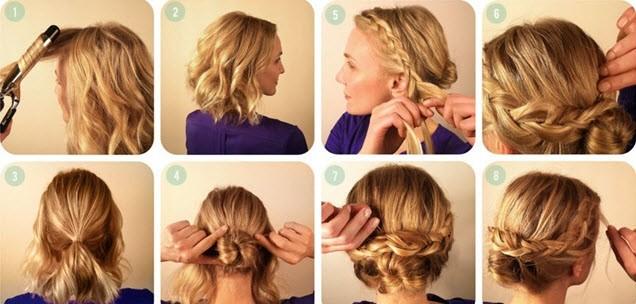 Причёски на средние волосы в домашних условиях фото косы