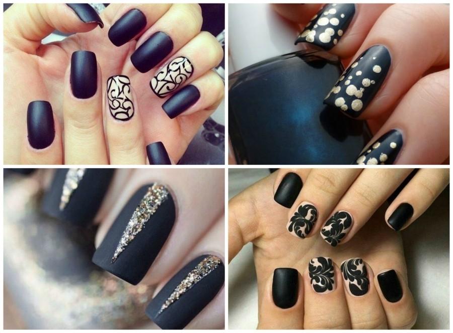 Дизайн ногтей в черном цвете 2017